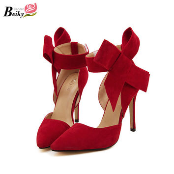Plus Size 35-41 High Heels Women's Shoes Big Bowtie Pumps Candy Color Butterfly Stiletto Shoes Woman Wedding Shoes Zapatos Mujer