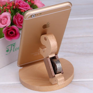 Universal Mini Desk Stand for iPhone 6 6S Plus 5 5S SE 4S Wood Phone Bracket For Samsung S6 Edge Mobile Phone Holder