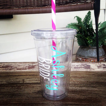 Bride Tumbler - Bridesmaid Tumbler - Maid of Honor - Personalized - Gift - Wedding Party- Flower Girl - Bachelorette Party - Bride Cup