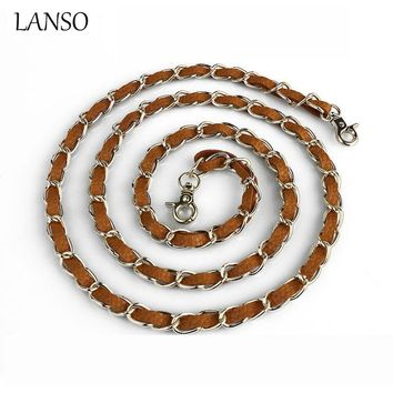 LANSO Brand Stainless Steel Purse Chain Leather Bag Parts &Accessories Women Shoulder Handbag Metal Replacement Bag Parts Belt