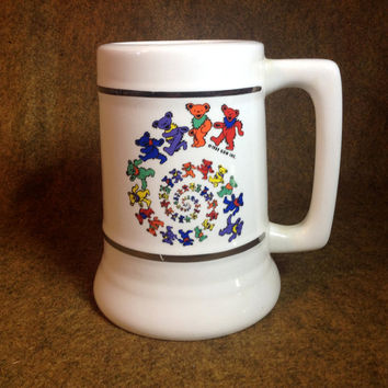 Large Vintage Grateful Dead GDM 1989 Jerry Bear - Dancing Bears Spiral - Large Ceramic Mug Stein