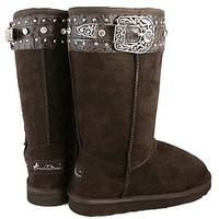 Montana West Brown Buckle Boots