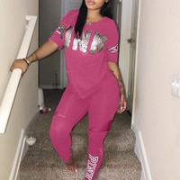 Pink Victoria's Secret Tops Short Sleeve Pants Trousers Two-Piece Set