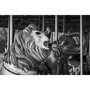 Carousel Animals - Black and White Photograph (A0000865)