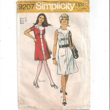 Simplicity 9207 Pattern for Misses' Dress in 2 Lengths, Size 12, Mini Version, Vintage Pattern, Home Sewing Pattern, 1970 Fashion Sewing