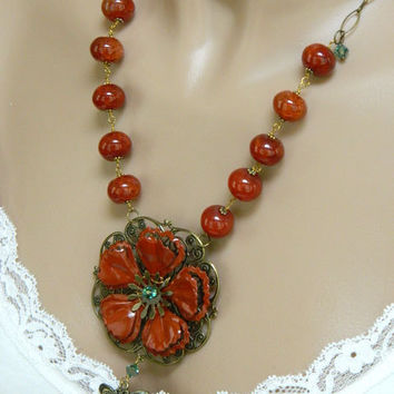Orange Flower Pendant Necklace Handcrafted Jewelry Long