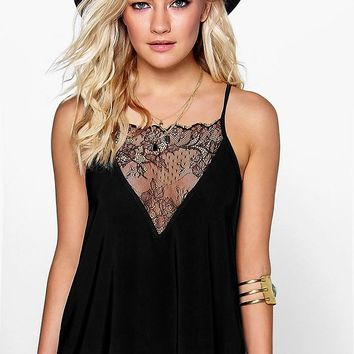 Taylor Lace Panel Slinky Strappy Cami | Boohoo