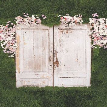 PRINTED WOOD DOORS GREENERY AND FLOWERS PLATINUM CLOTH BACKDROP - 8X8 - LCPC6100 - LAST CALL