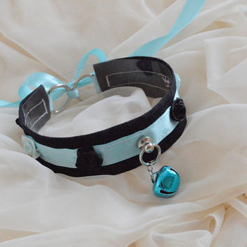 Frozen rose - black and pastel blue - fairy kei furry kawaii cute neko lolita kitten pet play collar with bell