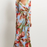 "The ""Charlie"" Floral Wrap Maxi Dress - Dusty Blue"
