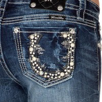 Juniors' Embellished Horseshoe Pearl Applique Mid Rise Bootcut Jeans by Miss Me - Jean - Westernwear.com