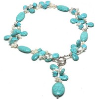 "24"" Beautiful Turquoise & White Freshwater Pearl Necklace With Toggle Hook 
