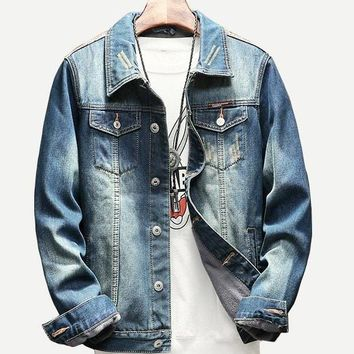 Men Patched Back Denim Jacket