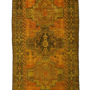 4x6 Overdyed Vintage Tribal Gold Rug 2515