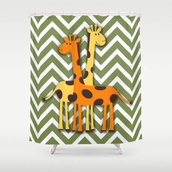 Yellow and Orange Giraffe on Green and White Chevron  Shower Curtain by tsuttles