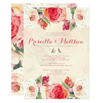 Peachy Peonies, Floral Wedding Card