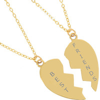 Best Friends Gift Idea / Gold Broken Heart Necklace / 2 Half heart necklace