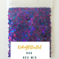 Holographic Glitter Hex- SOS
