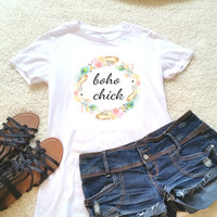Boho chick quote t-shirt in size s, med, large, and Xl for juniors girls and women