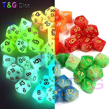 New Arrived 7pc/lot High Quality Mix-Colour Glow In The Dark,Dice for Dungeons & Dragons D4,6,8,10,10%,12,20 Set RPG Board Game