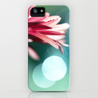 Nature's Dreaming - pink gerbera macro with mint / aqua bokeh iPhone & iPod Case by micklyn
