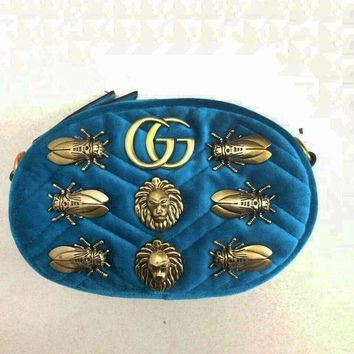 ONETOW Gucci Fasion Small Bag Lion head Waist Bag Cicada bag Shoulder Bag Lake blue