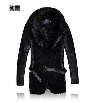 Free Shipping 2014 Men'S Real Raccoon Fur Coat Leisure Winter Jackets Large Fur Collar Long Coat Leather Sleeve Coat A1412
