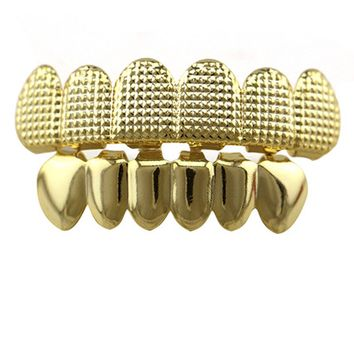 Hiphop Gold Lattice Shape Teeth Grillz