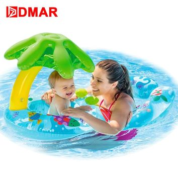 DMAR Inflatable Swimming Ring Baby Pool Float Toys With Canopy Sea Mattress Beach Party Parent-child Activity Flamingo Unicorn