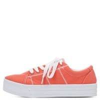 Qupid Lace-Up Flatform Sneakers by