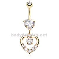 Golden Lusterous Double Heart Belly Button Ring Stainless Steel Body Jewelry