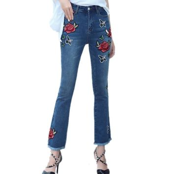 New Jeans Woman Pant  Embroidery Vintage Slim Rose Flowers Flare Pants High Waist Trousers Ankle-Length Pants  B77903A