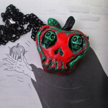 Poison apple necklace - psychobilly jewelry poisoned apple creepy cute necklace snow white witch villain costume once upon a time evil queen