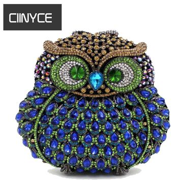 GIFT BOX Owl Diamond Evening Women Bag Party Crystals Clutches Miaudieres Wedding Purses Ladies Hollow Out Handbags Bolsas