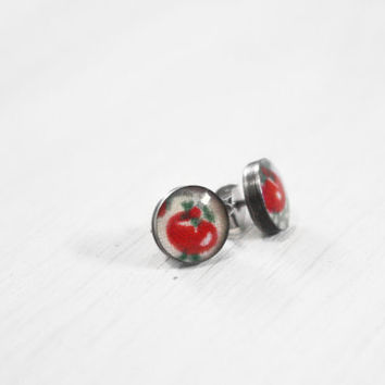 Tomato Stud Earrings - vegan vegetarian garden red vegetable upcycled 1950s resin sterling silver posts - vintage fabric jewelry