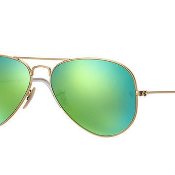 Ray Ban Aviator Sunglass Matte Gold Green Polarized Mirrored RB 3025 112/P9