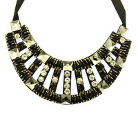NECKLACE / FACETED HOMAICA STONE / BIB / GLASS STONE / MICRO BEAD / TIED CLOSING / 14 INCH LONG / 2 1/2 INCH DROP / NICKEL AND LEAD COMPLIANT