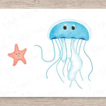 Jellyfish and Starfish Friends Art Print, Ocean Nursery Decor, Ocean Baby Room, Sea Nursery, Watercolor Nursery, Jellyfish Art, Starfish Art
