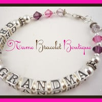 Mothers Day Grandma Bracelet,  Great Grandmother Nana Personalized, Sterling Silver Birthstone  Custom Child Name Bracelet, Great gift