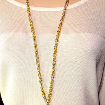 Lanyard - Handcrafted Byzantine Chain - Two Tone (Silver and Gold)