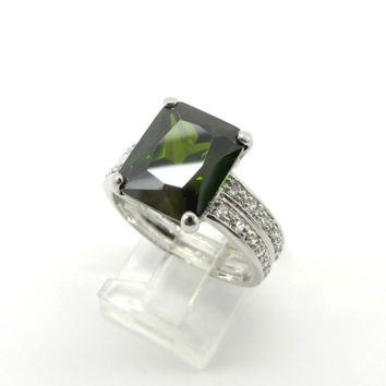 Peridot & Topaz Ring, Vintage Sterling Silver Engagement Ring, Bridal Jewelry, Size 9