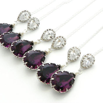 Purple Bridesmaid Necklace Amethyst Swarovski Crystal Sterling Silver Old Hollywood Glam Gift Handmade Jewelry Prom Wedding CZ Pear Teardrop