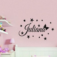 Wall Decals Vinyl Decal Sticker Custom Personalized Name Girl Fairy Stars Butterfly Mural Interior Design Kids Nursery Baby Room Decor