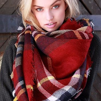 Lucky Duck Pretty in Plaid Blanket Scarf in Burgundy