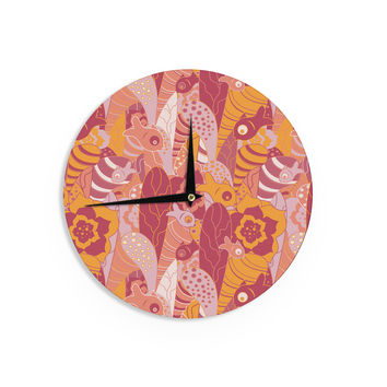 "Akwaflorell ""Fishes Here, Fishes There 3"" Pink Orange Wall Clock"