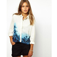 Lapel Collar Button Up Gradient Floral Long Sleeve Top