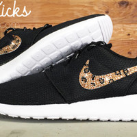 Bling Nike Roshe Run Glitter Kicks - Blinged Nikes, Bling Shoes, Blinged out Nikes, Glitter Shoes Black White Leopard Crystals