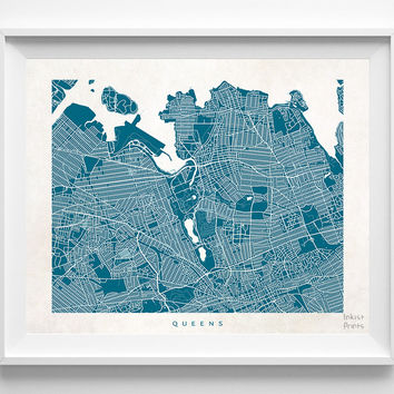 New York, Queens, Print, Map, NY, Poster, State, City, Street Map, Art, Decor, Town, Illustration, Room, Wall Art, Customize