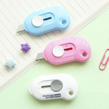 ICIK272 Cute Solid Color Mini Portable Utility Knife Paper Cutter Cutting Paper Razor Blade Office Stationery Escolar Papelaria