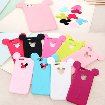 Free Shipping Cute Candy Colors Colorful 3D Soft Mickey Mouse Ear Silicone Cartoon Phone Case Cover for iphone 5G 5S 6 6S 6plus